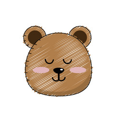 Teddy bear boy head animal wild vector