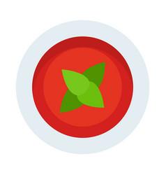 tomato sauce with basil flat icon isolated vector image
