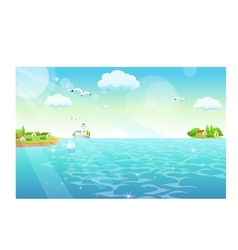 Town shore scene vector