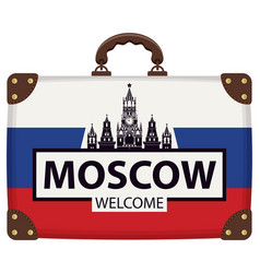 Travel suitcase with russian flag and kremlin vector
