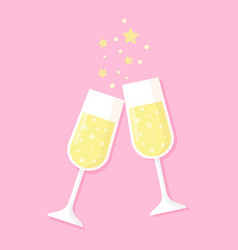 Two glasses full of champagne isolated on pink vector