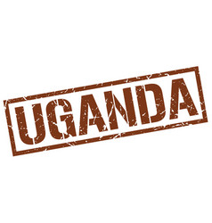 Uganda brown square stamp vector