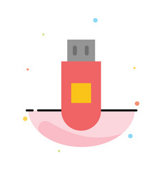 Usb storage data abstract flat color icon template vector