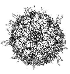 Vintage doodle flower vector