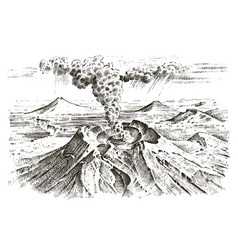 volcano activity with magma smoke before the vector image