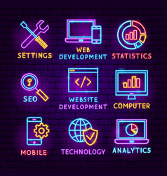 web development neon label set vector image