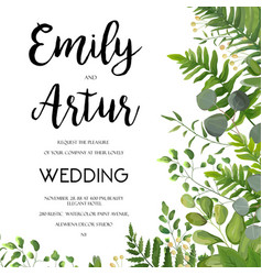 Wedding floral greenery invite card design vector
