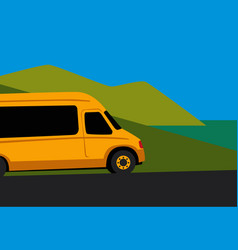yellow minibus on seaside road vector image