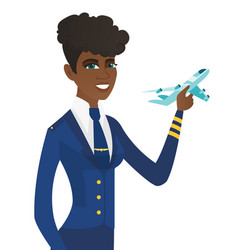 Young african stewardess with model of airplane vector