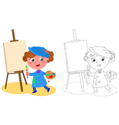 young cartoon painter coloring vector image