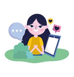 young woman smartphone speech bubble romantic vector image