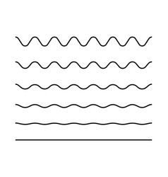 Zigzag seamless wave lines set wavy wiggly black vector