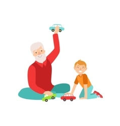 Grandfather And Grandson Playing Toy Cars Part Of vector image vector image