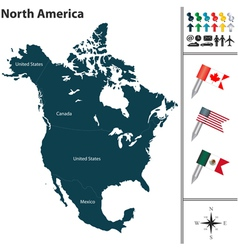 North America map with flags and regions vector image