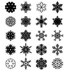 Set of black snowflakes vector image vector image