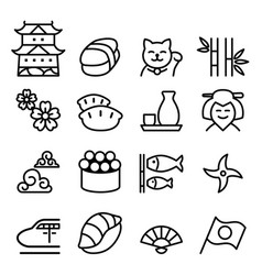 basic japan icon set in thin line style vector image vector image