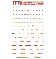 cars trucks and public transport icons vector image vector image