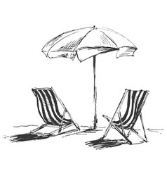 Hand sketch with beach chairs and parasols vector image
