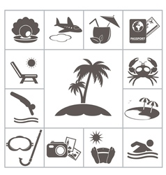 Tropic icons vector image vector image