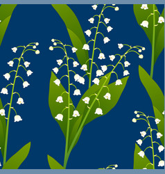 white lily of the valley on indigo blue vector image