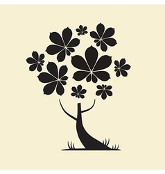 Abstract Tree Silhouette with Chestnut Leaves vector image vector image