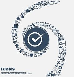 Check mark sign icon Checkbox button in the center vector image vector image