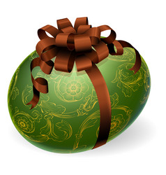 chic easter egg with golden patterns vector image