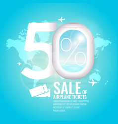 conceptual poster sales and discounts of airaplane vector image