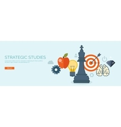 Flat header hand and chess vector