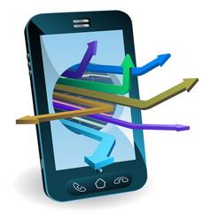 phone arrows concept vector image