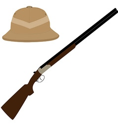 Safari hat and rifle vector image vector image