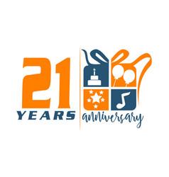 21 year gift box ribbon anniversary vector image