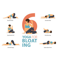 6 yoga poses for workout in bloating concept vector image