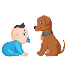 a baby sitting with pet vector image