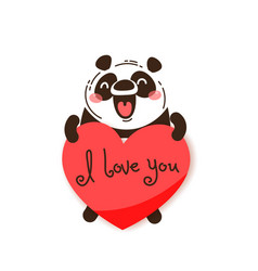 a happy panda with a valentine and message i love vector image