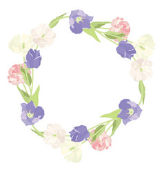 a stunning wreath of pink and lilac tulips object vector image