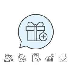 Add gift box line icon present sign vector