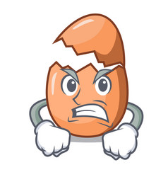 Angry shell of broken egg on the mascot vector