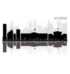 athens city skyline black and white silhouette vector image