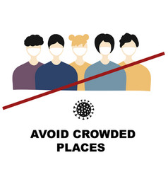 Avoid crowded places concept quarantine vector