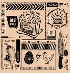 background with fast food symbols menu pattern vector image
