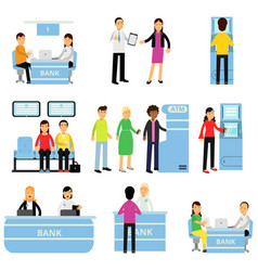 Bank employees and customers in different vector