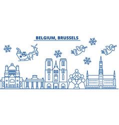 Belgium brussels winter city skyline merry vector