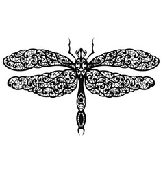 black decorative elegant dragonfly as a lace vector image