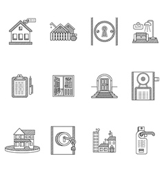 Black outline icons for rent real estate vector
