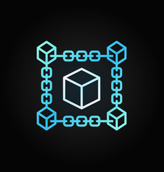 block chain cube blue concept line icon vector image