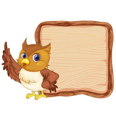 Board template with cute owl on white background vector
