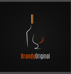 brandy or whiskey logo brandy bottle and glass vector image