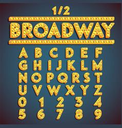 Broadway fontset with lamps vector