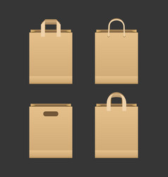 brown paper shopping bag set vector image